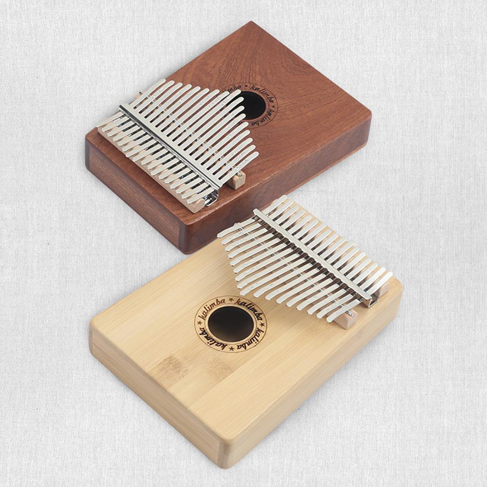 Retro Version 17Keys Thumb Piano Wood Instrument Pine Aluminum Bar Kalimba Keyboard Music Portable Finger Board With Tune Hammer