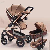 High Landscape Travel Baby Stroller 3 In 1 with Car Seat Baby Comfort Newborn Sleeping Basket Portable Cradle Baby Carriage 0~3Y