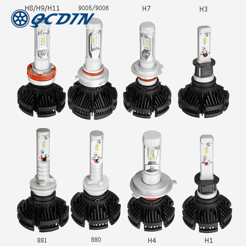 QCDIN 2Pcs H7 LED Headlight Bulbs LED H4 Car Auto Headlamp H8/H9/H11 H3 H1 880 881 9005/9006 CSP Fog Light Bulb LED Lamp auto headlight h1 led lamp with csp 6000k 35w 12 volt 880 881 h27 bulb led lampada car accessory kit led h1 360 diode head light