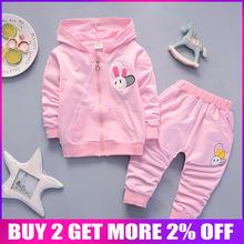 BibiCola Spring Children Costume Baby Clothing Sets For Girls Hooded Coat +Pants Cartoon 2pcs Sport Suit Kids Tracksuit