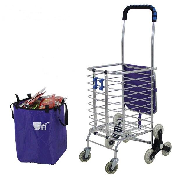 454cdf502a679 Subir escaleras carrito de compras plegable portable escalada escalera de  carrito de la compra con ruedas plegable carro de mano en Cestas de  almacenamiento ...