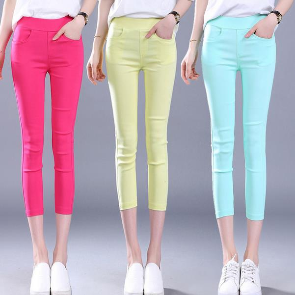 plus size Cotton Leggings womens trousers Candy12 colors elastic feet   pants   casual   Capris   Pencil   Pants