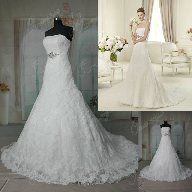 Oumeiya ORW328 Dot Tulle French Lace Wedding Dress-in