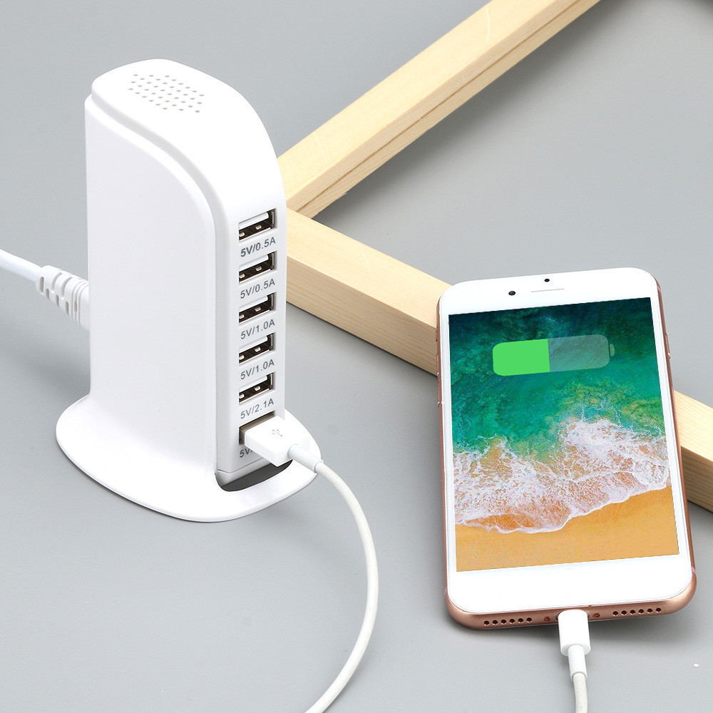 Quick Charge 6 Ports USB Rapid Charging Socket 6A Wall Charger Travel Plug Desktop USB HUB Splitter Multi Port Phone ChargerQuick Charge 6 Ports USB Rapid Charging Socket 6A Wall Charger Travel Plug Desktop USB HUB Splitter Multi Port Phone Charger