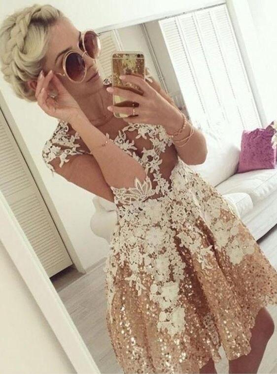Cocktail Dresses Plus Size Gold Long Sleeve Short Evening Prom Dress 2019