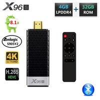 X96 X96S DDR4 4GB RAM 32GB ROM Mini PC Smart Android 8.1 TV Box Amlogic S905Y2 TV Stick Dongle WiFi Bluetooth 4K HD Media Player