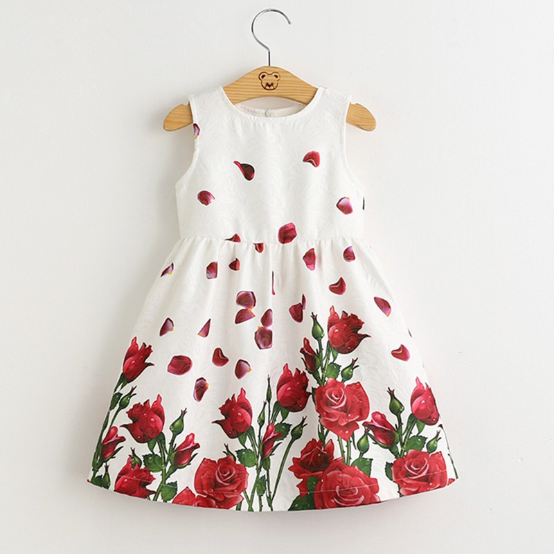 Girls Dress 2016 Brand Princess Dress Kids Clothes Sleeveless Red Rose Print Design for Grils More style Clothes bear leader girls dress 2016 brand princess dress kids clothes sleeveless red rose print design for grils more style clothes