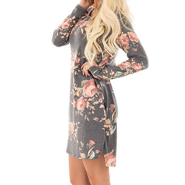 Femmes Automne Floral Imprimé Robe 2017 Femelle À Manches Longues Mini Robes Robe De Festa Coton Occasionnel Plus Taille Robes GV845