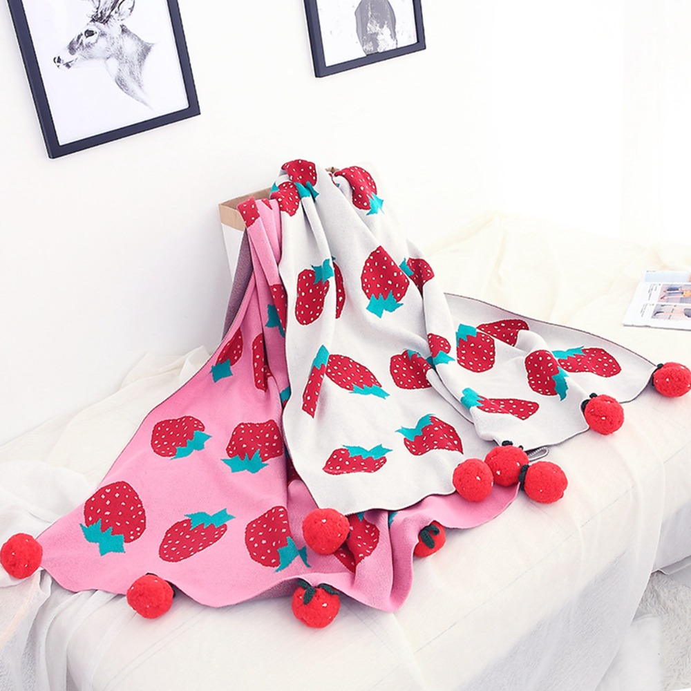 100X120cm Girls Strawberry 2 Layers Winter Thick Cotton Knitted Baby Blanket With Tassels Balls Kids Back Seat Cover Kids Quilt