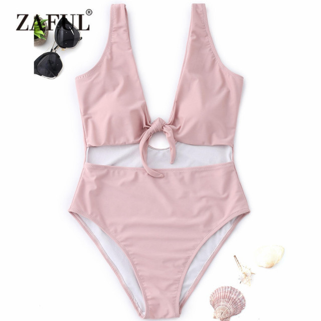 ba32adcbb13 US $17.01 35% OFF|ZAFUL New One Piece Women Swimwear Knot Cutout High Cut  Swimsuit Women Plunging Neck Padded One Piece Swimsuit Bathing Suit-in Body  ...