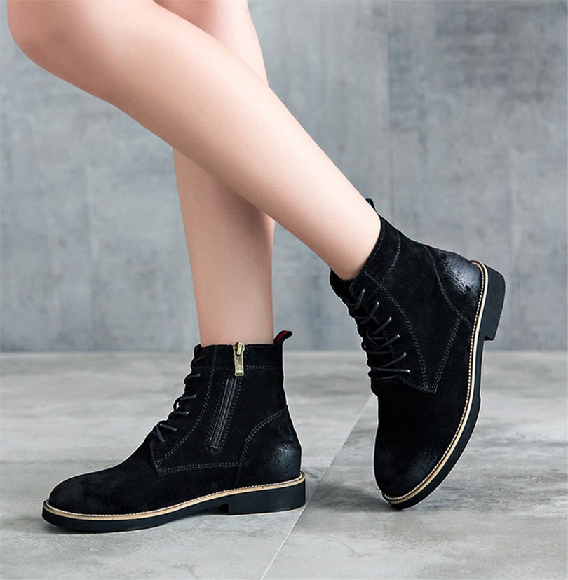 New winter retro College wind leather lace flat with short boots Martin boots women SUB623