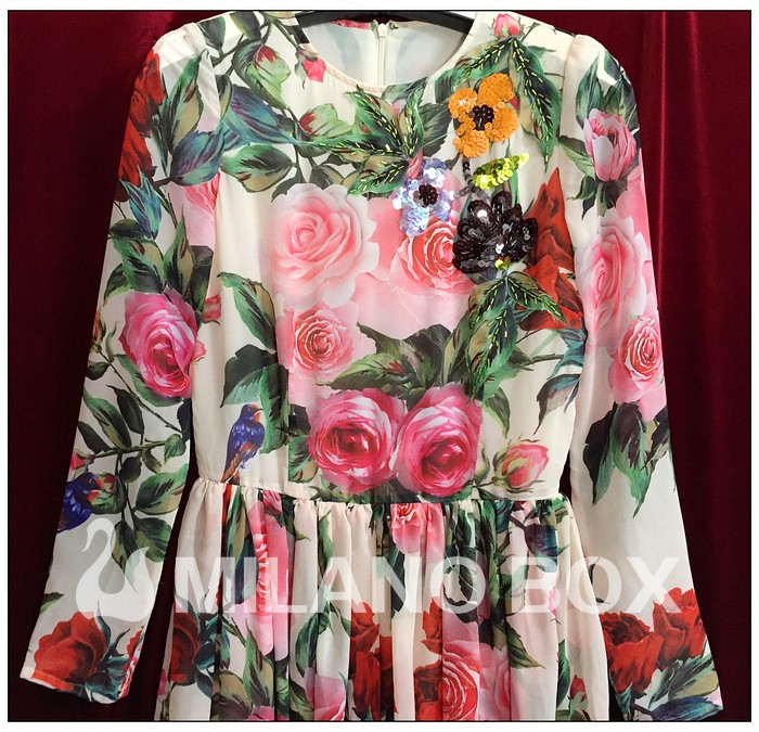 83032b638beed 2016 Runway Maxi Dress High Quality Women's Long Sleeve Sequined Beading  Rose Floral Bird Printed Long Dress With Scarf-in Dresses from Women's ...