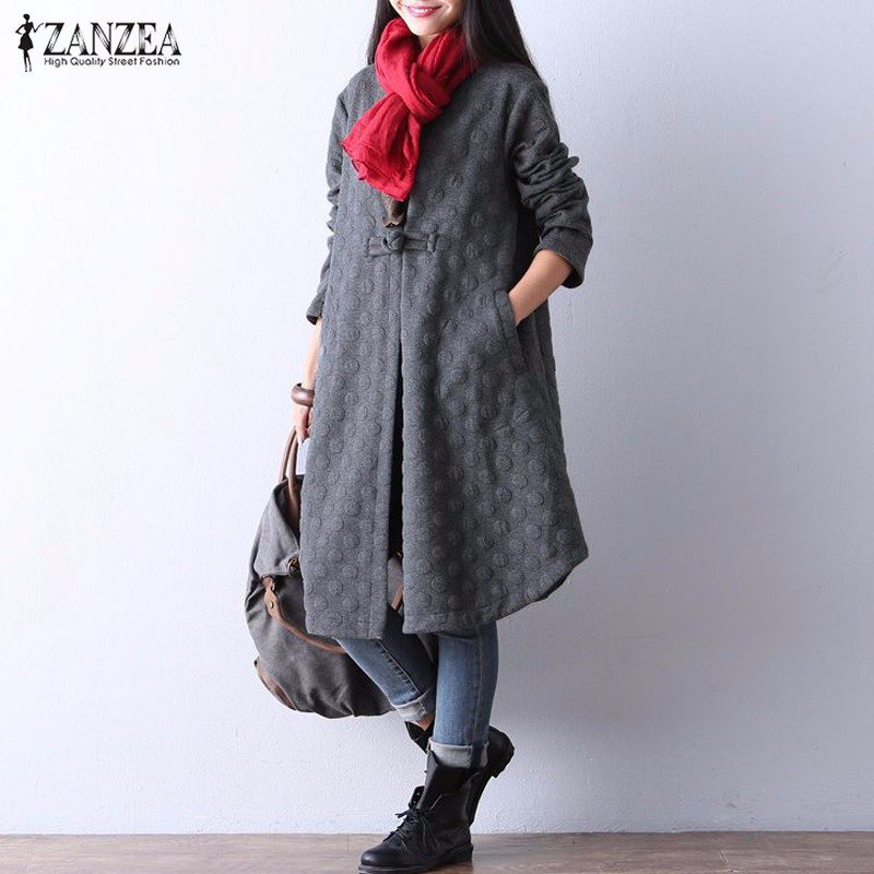 ZANZEA 2018 Autumn Winter Women Long   Trench   Coats O-Neck Collar   Trench   Coat Women Vintage One Button Solid Coats Casual Outwear