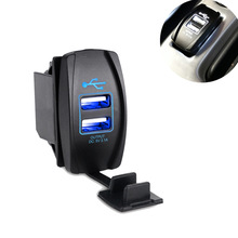 Truck ATV Boat 12v-24v 3.1A Dual USB Socket Charger Power Adapter Car Motorcycle USB Cigarette Lighter Adapter Outlet Auto