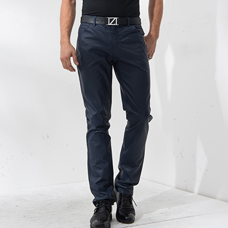 Denny&Dora Men's In Black Navy Genuine Leather Pants Soft