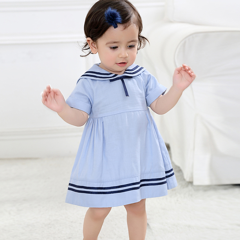 Summer Baby Girls Dresses Fashion Cotton Short Sleeve Naval Style Dress Brand Kids Princess Dresses Baby Clothing 6 - 24 Months