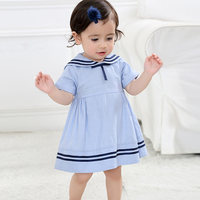 Summer Baby Girls Dresses Fashion Cotton Short Sleeve Naval Style Dress Brand Kids Princess Dresses Baby