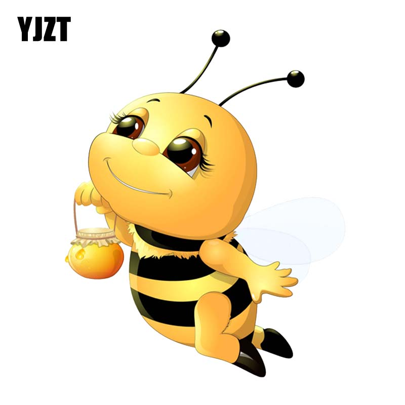 YJZT 14.5CM*18CM An Industrious Bee Cartoon PVC Car Sticker Decal 12-300595