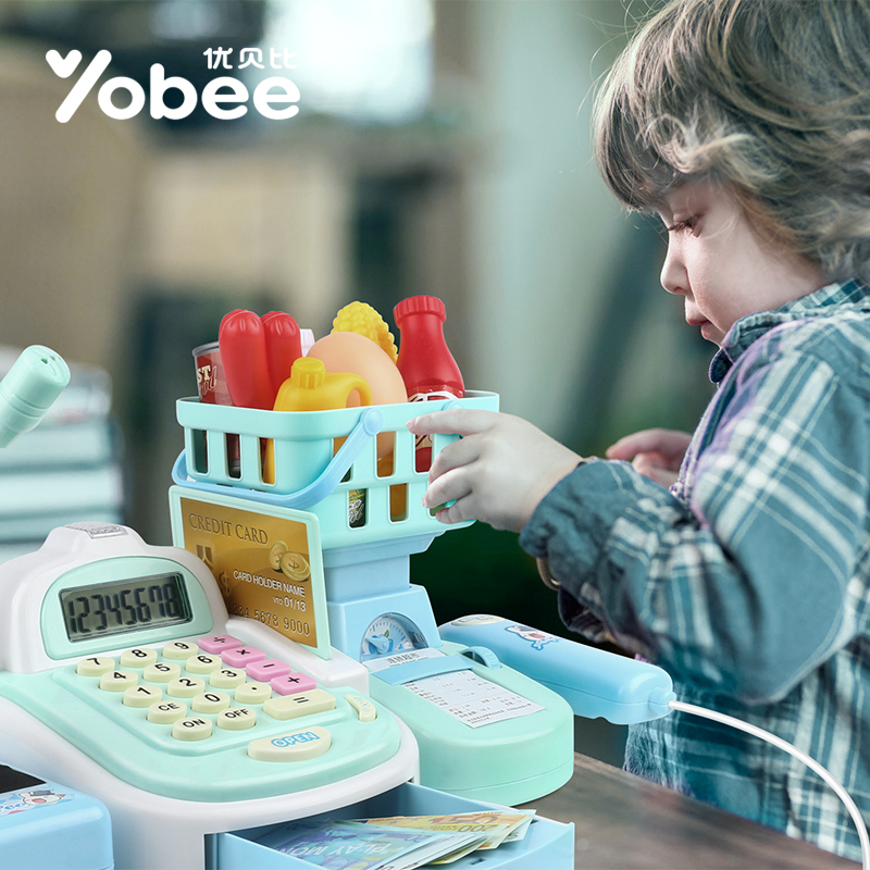 Yobee-Multi-functional-Cash-Register-Toy-Educational-Pretend-Play-Operated-Toy-Working-Calculator-and-Microphone-Scanner-2