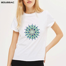 Women T Shirts Street Fashion Slim Summer White T-Shirts Clothing 2019 New Flower Print Casual Tops Plus Size Tees