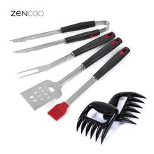 ZENCOO 4Pcs Stainless Steel BBQ Tools Set Including Tongs Spatula Brush Fork Barbecue Grill Tools Set for Picnic Party Home