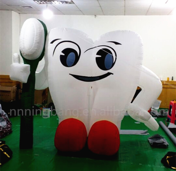 Free shipping 2m high 2018 Hot sale inflatable tooth, giant inflatable toothbrush,inflatable tooth balloon for advertising image