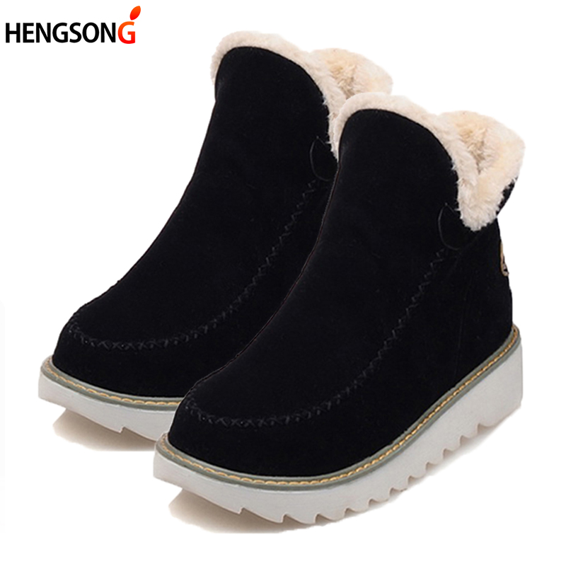 Autumn Winter Women Snow Boots Round Toe Ankle Warm Plush Snow Boots Slip-On Women Shoes Flats Black Beige Brown Plus Size 34-43 new women high quality flat boots winter women s snow boots beige black brown warm classical flock add wool boots n03