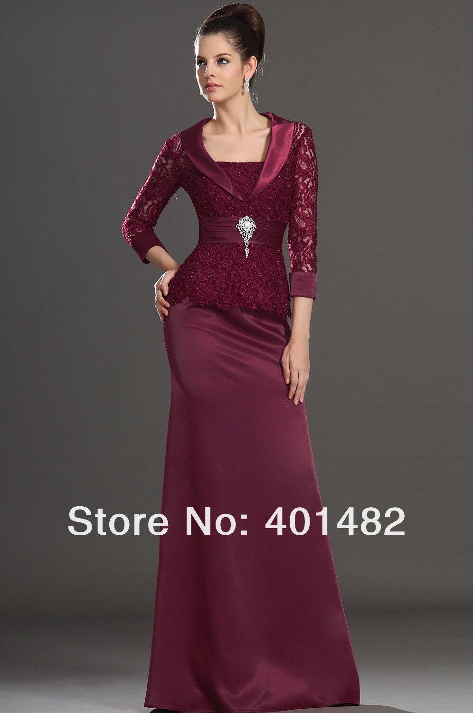 c613799bf € 151.87 |Borgoña elegante vestido de Una Sola Pieza de Tres Cuartos de  Manga de Encaje Blusa Madre de La Novia Vestido de Freeshipping en Vestidos  ...