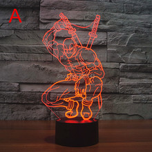 Colors Changing Hero Deadpool Acrylic 3D LED Night Light USB LED Decorative Table Lamp Baby Sleep LED Colorful Mood Lamp 3d visual acrylic led colorful decorative night light
