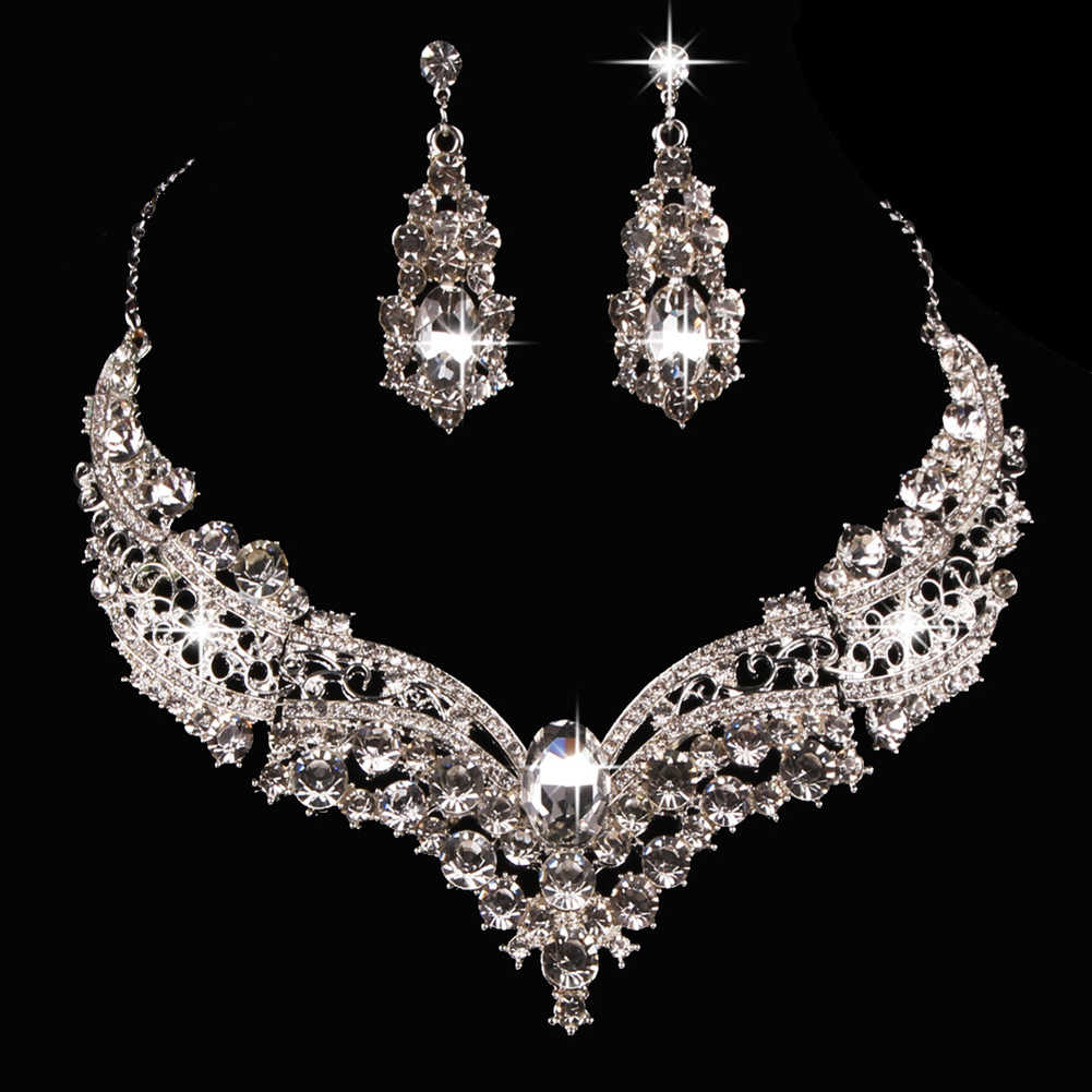 2 PCS Wedding Bridal Queen Style Fully Shiny Rhinestone Necklace Earrings Jewelry Set for Brides Women Crystal Jewelry