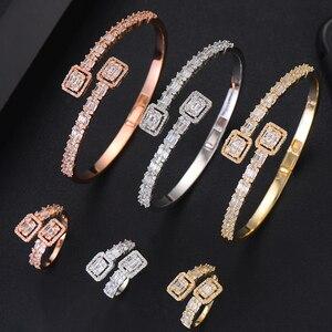 Image 2 - GODKI Luxury Trendy Saudi Arabia Bangle Ring Set Jewelry Sets For Women Wedding Engagement brincos para as mulheres 2019