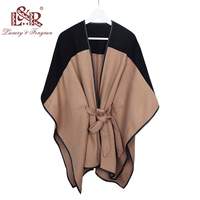2019 New Design Waistban Dess Winter Poncho for Women Ladies Cashmere Wool Ponchos Leather Hem Shawl Knitted Women Poncho Scarf