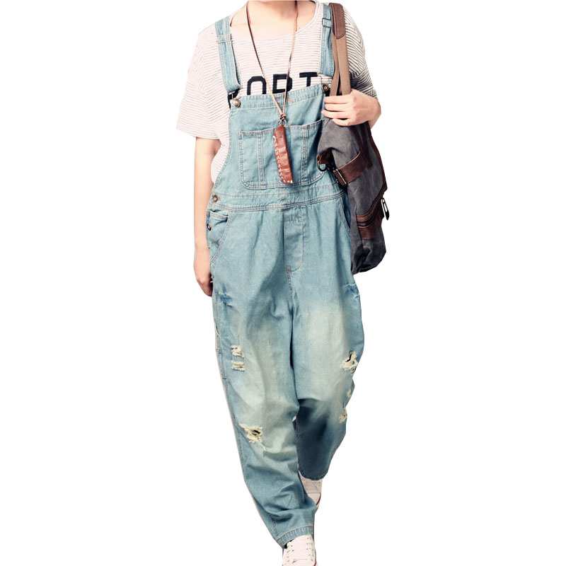 Korean version of the Fashion Hole Sling jeans trousers Female 2018 Spring and Autumn New large size S L Loose Slim Pants in Jumpsuits from Women 39 s Clothing