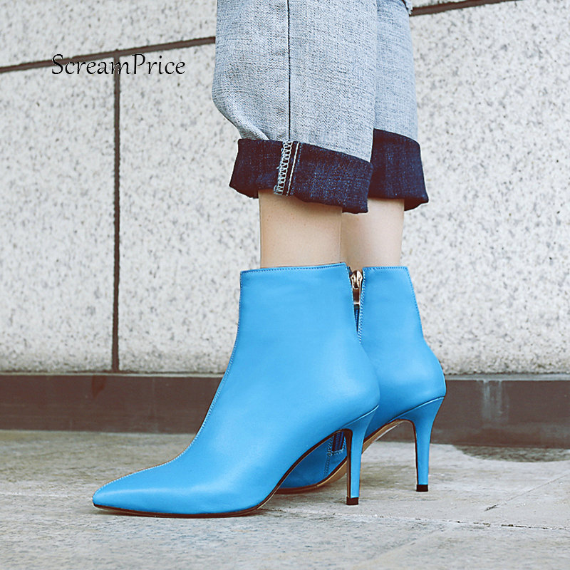 Women Genuine Leather Thin High Heel Ankle Boots Fashion Zipper Boots Ladies Pointed Toe Fall Winter Shoes Black Blue fashion rivet thin high heel genuine leather ankle boots women side zipper pointed toe winter shoes black wine red