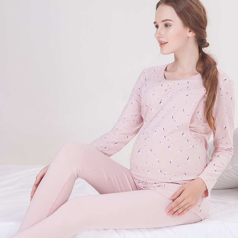 Moms maternity clothes maternity nightgown breastfeeding pregnancy sleepwear for pregnant women nursing pajamas set maternity breastfeeding clothes cotton sleepwear nursing pajamas suit pregnanci long sleeve for pregnant women clothes 70m0218