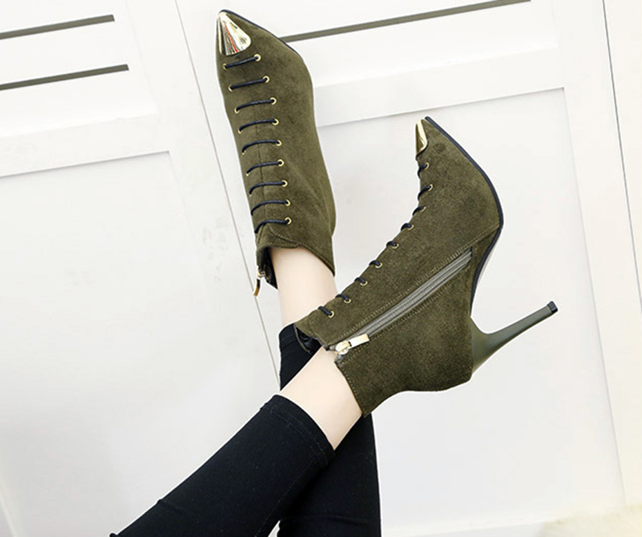 EISWELT Women Fashion Boots Autumn and Spring Ladies Casual Pointed Metal Head with High-heeled Shoes Lace Shoes Women Boots 13