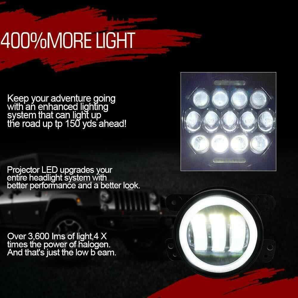 """7 """"بوصة 75 واط LED المصباح و الضباب مصباح 4 في 1 عالية/منخفضة شعاع مع تشغيل ضوء ل 2007-17 جيب رانجلر JK روبيكون JKU الصحراء"""