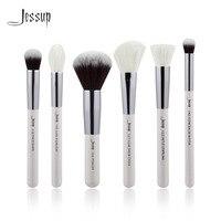 Jessup Pearl White Silver Professional Makeup Brushes Set Make Up Brush Tools Kit Buffer Paint Cheek