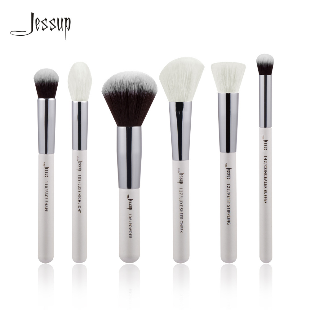 Jessup 6pcs Pearl White/Silver Professional Makeup Brushes Sets Make up Brush Beauty Tools Buffer Paint Cheek Highlight Powder кресло мешок груша пазитифчик рингс 03