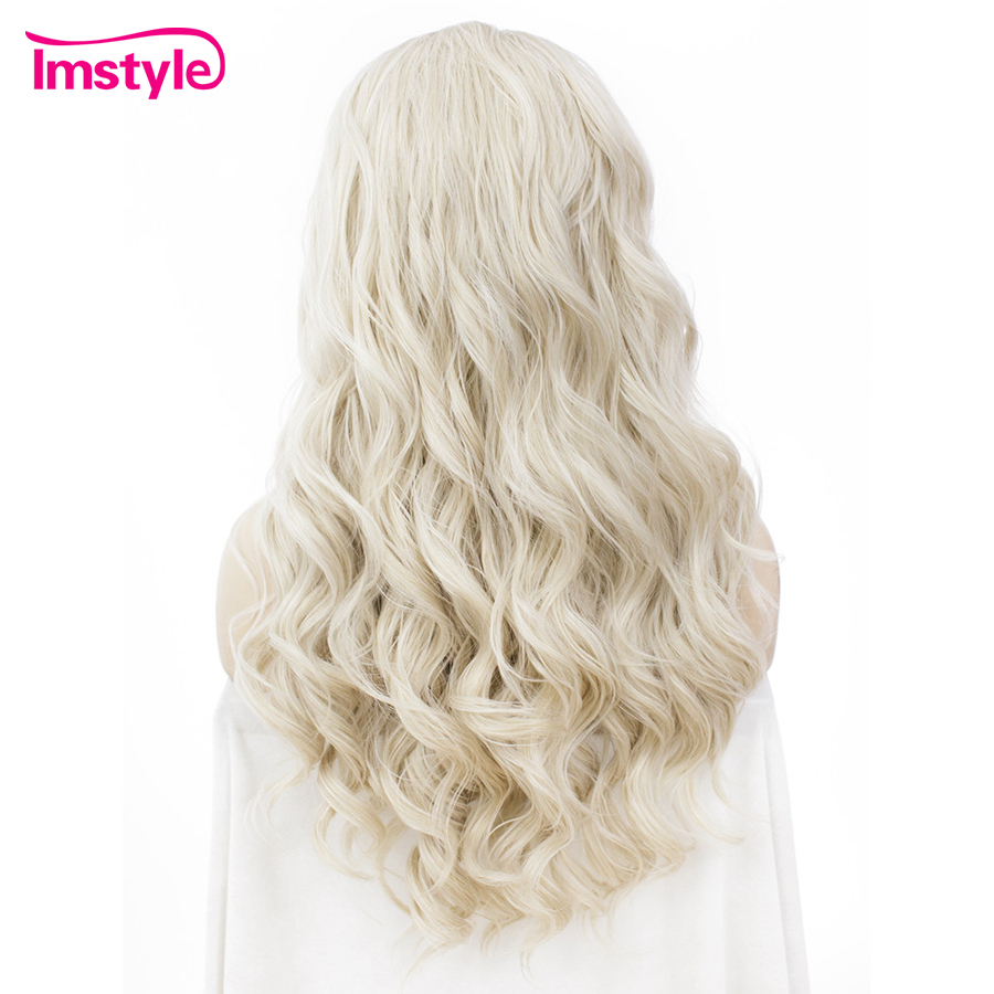 Image 2 - Imstyle Ash Blonde Lace Front Wigs For Women Synthetic Hair Wig Long Wavy  Cosplay Wigs Heat Resistant Fiber Glueless 24 Inches-in Synthetic None-Lace  Wigs from Hair Extensions & Wigs