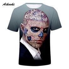 ef0e2d4dd1f6a Aikooki Canadá Rick Genest 3D camiseta Zombie niños camiseta transpirable  3D camisetas para hombre de manga