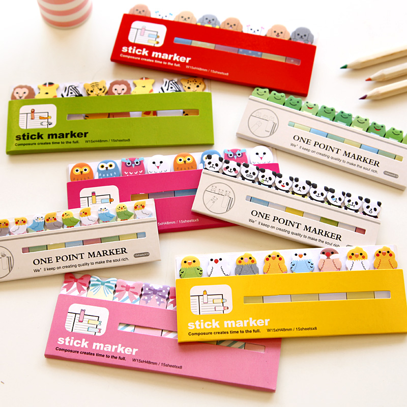 5 PCS Kawaii Japanese Post It Scrapbooking Scrapbook Stickers Sticky Notes School Office Supplies Stationery Page Flags For Kids page flags green 50 flags dispenser 2 dispensers pack page 4