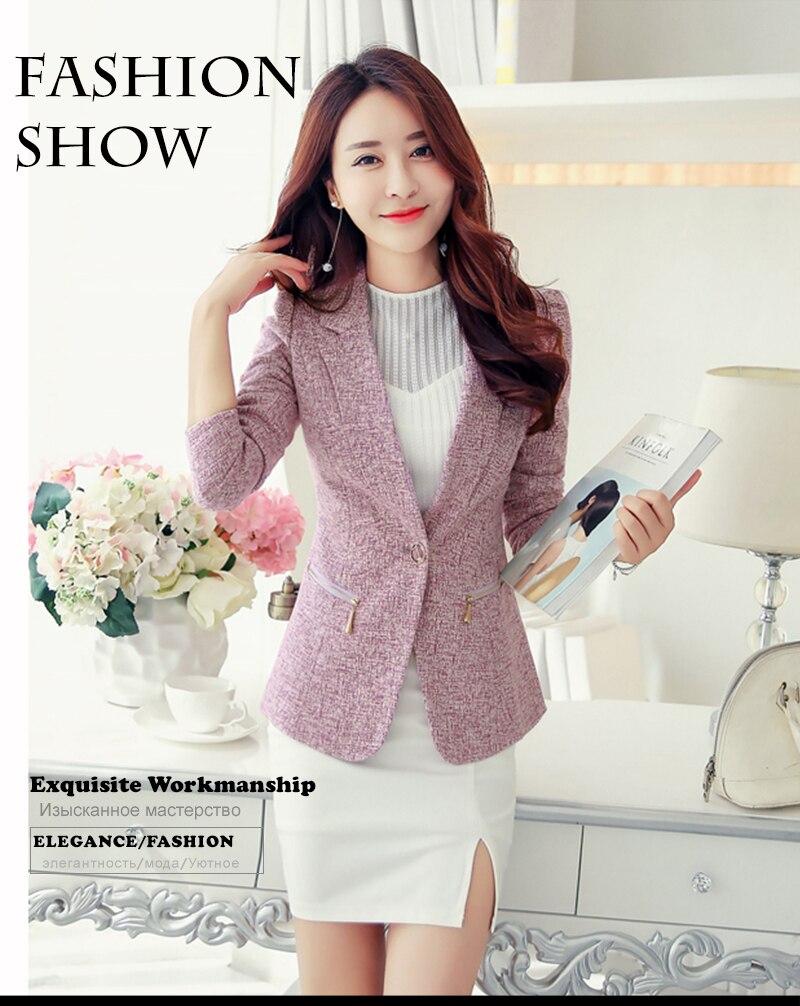Casual de color Blazers mujeres chaqueta Formal coreano más tamaño ... e2b9e5427cb0