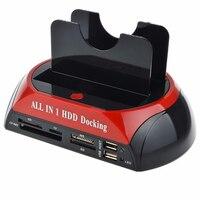 תחנת עגינה לדיסק קשיח USB הכפול 2.0 2.5/3.5 Inch IDE SATA תיבת דיסק קשיח חיצונית מארז כונן דיסק קשיח כרטיס Reader האיחוד האירופי Plug