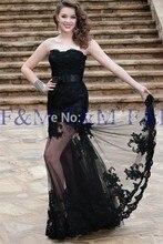 2016 Sexy Lady New Fashion Classic Nixe-spitze Durchsichtig Schwarz Schatz Luxus Bodenlangen Pageant Abendkleider