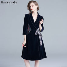 6f0a2a19c42 OL Dark Blue Embroidery Velvet Winter Dress Ropa Mujer Invierno 2019 Women  Midi Party Gothic Women Dress Vestiti Donna K6216