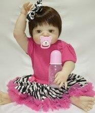 """עיצוב חדש חמוד גוף מלא סיליקון בובה Reborn 55 ס""""מ 22 אינץ 'כל ויניל נולד מחדש בובת ילדה בובות צעצועים עבור מתנות יום ההולדת של הילדים"""