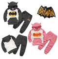 Free Shipping 2016 casual autumn batman baby boys girls clothes set children clothing set kids sport suit hoodies + pants 2 pcs
