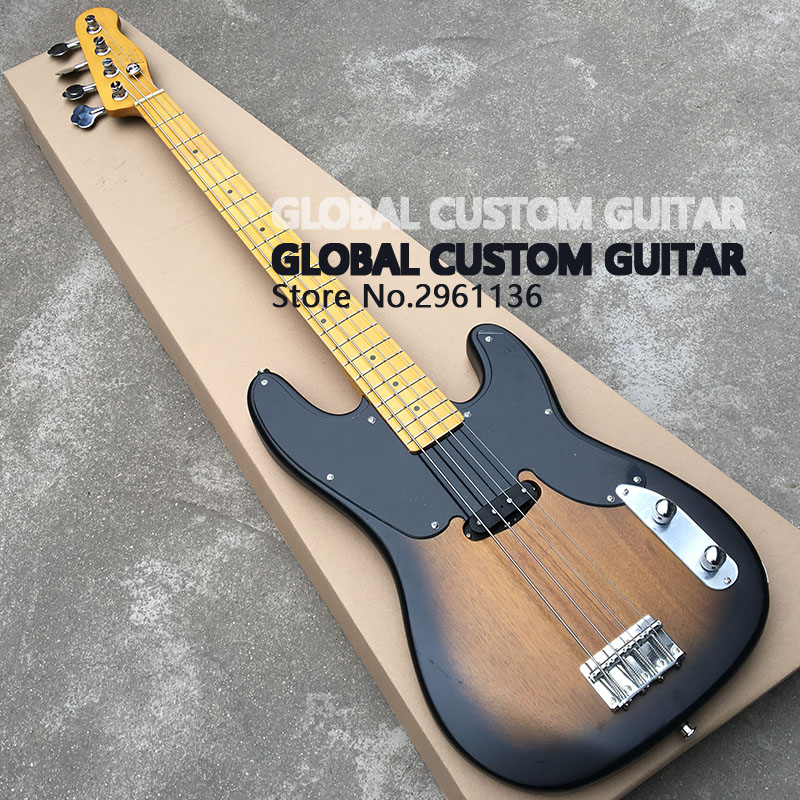High Quality Electric BASS Guitar,With Full ALDER Body 4 strings bass guitarras Maple fingerboard,3TS high quality hollow maple body nashville electric guitar with gold bigsby free shipping