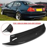 CSL Style Black Rear Carbon Fiber Trunk Duckbill Rear Spoiler Wing for BMW E46 4DR Sedan 1999 2005